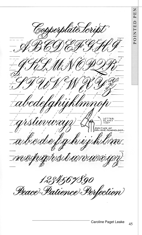 Calligraphy copperplate script exemplar kalligrafie